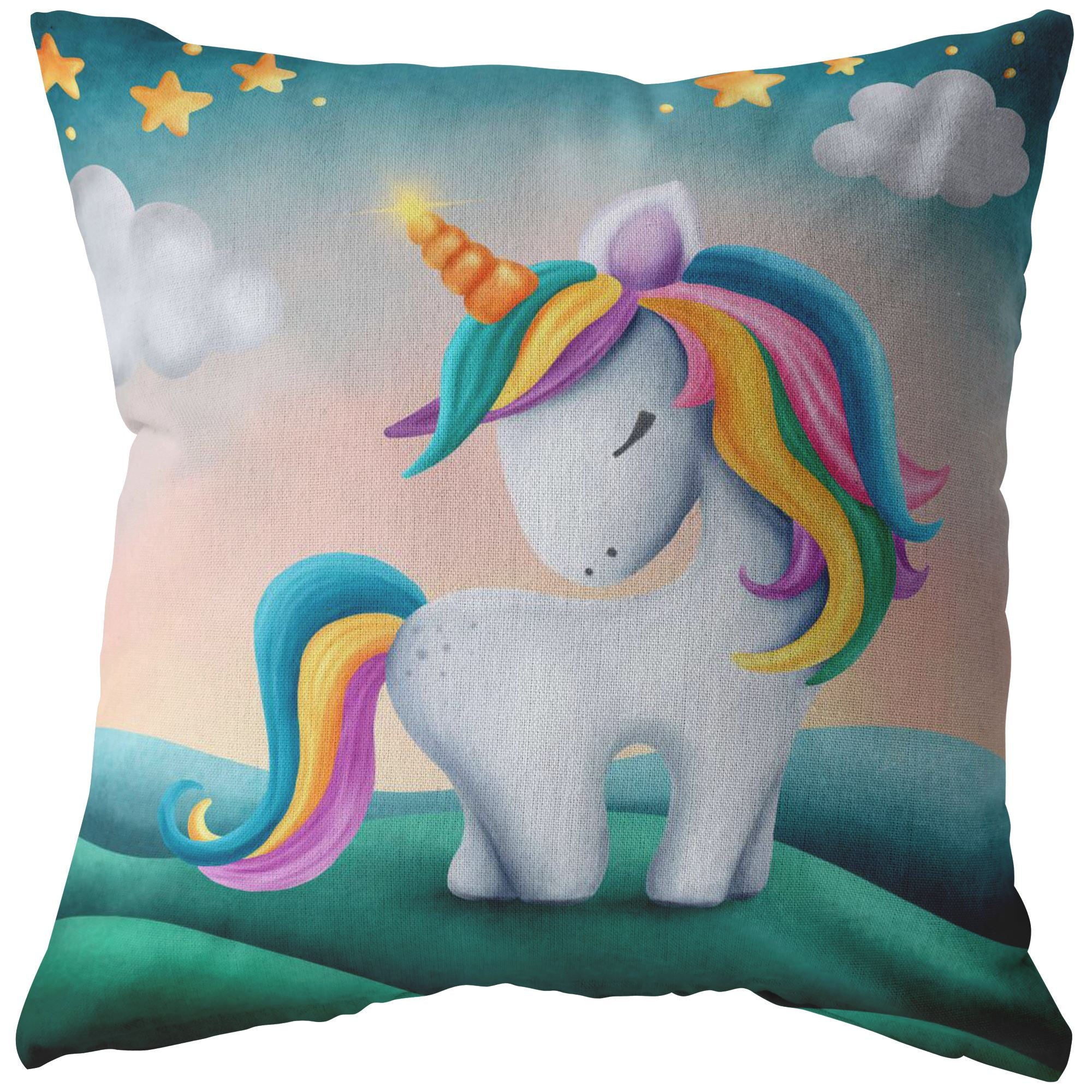 Unique Unicorn Throw Pillow • Perfect Home Decor Pillows Multi teelaunch Stuffed & Sewn 16 x 16