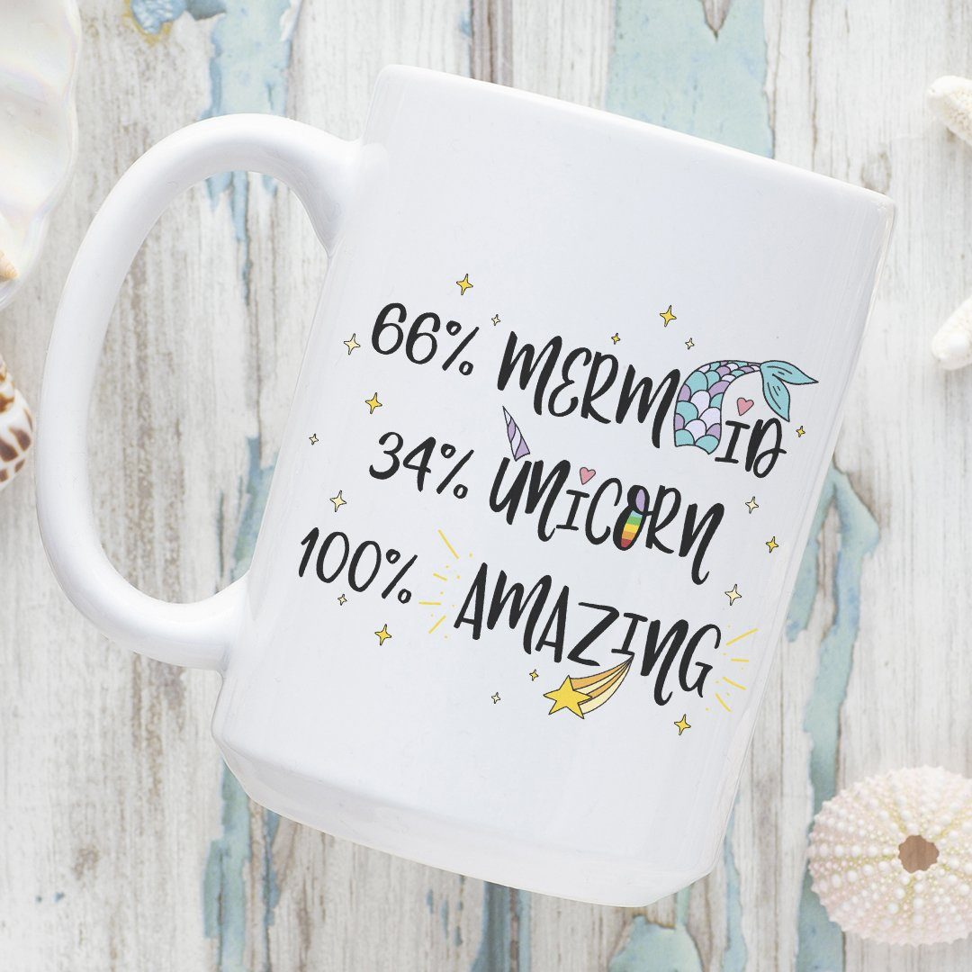Part Mermaid, Part Unicorn, All Amazing • 15oz. Ceramic Mug Drinkware teelaunch 100% Amazing