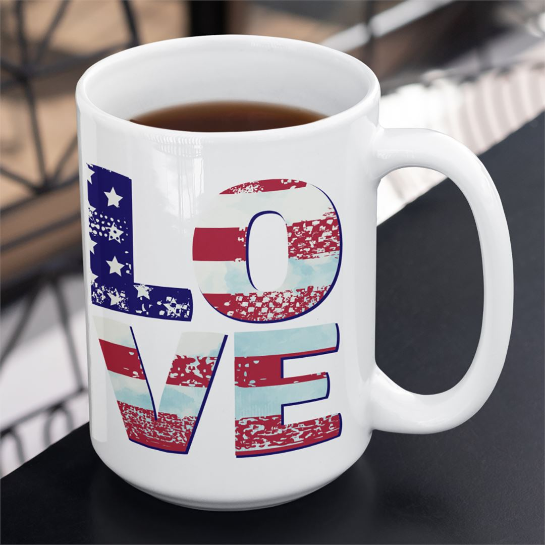 Patriotic Love • 15oz. Large Ceramic Mug Drinkware teelaunch patriotic love