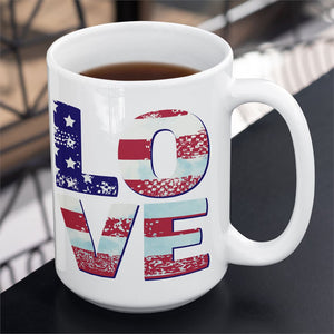 Patriotic Love 15oz. Large Ceramic Mug