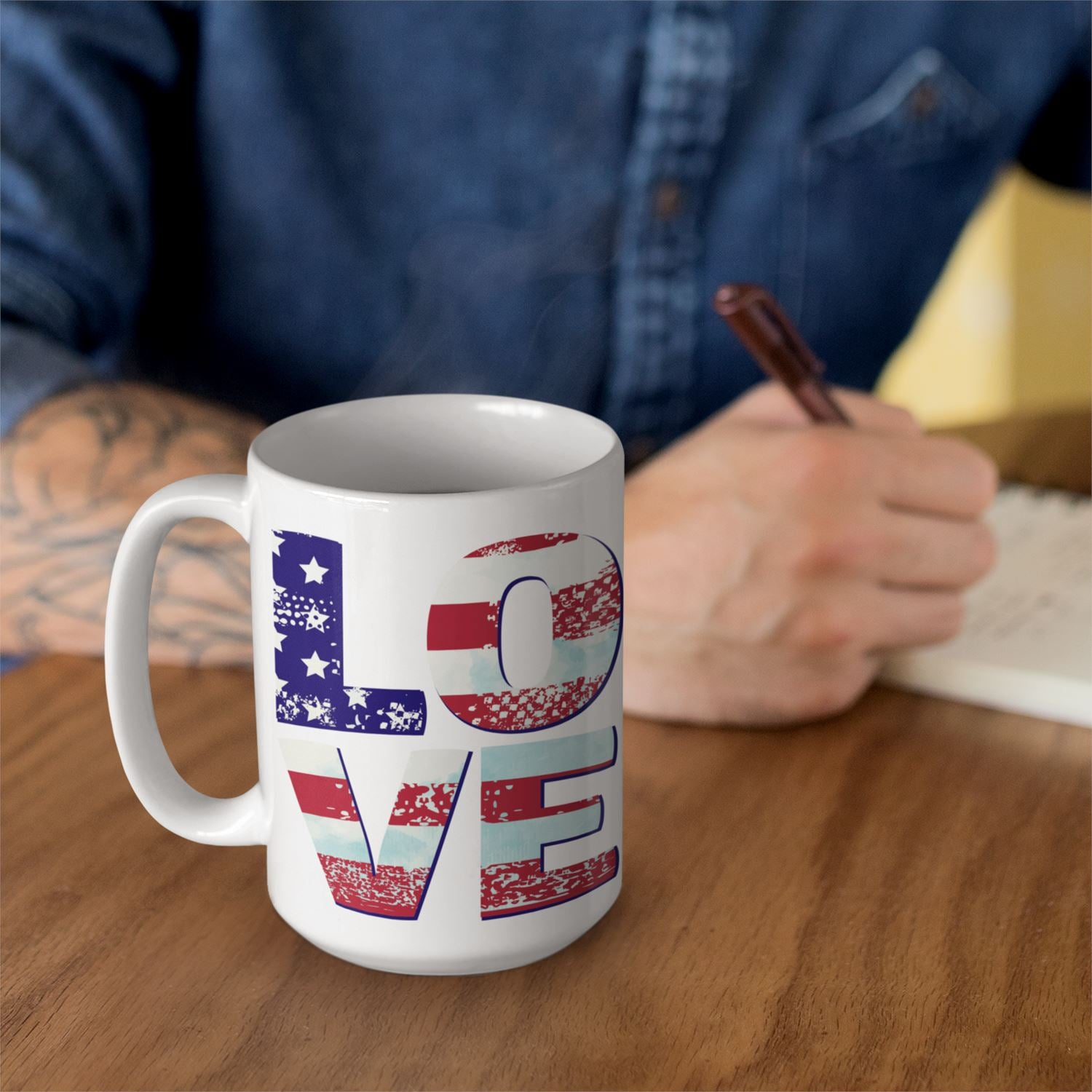 Patriotic Love • 15oz. Large Ceramic Mug