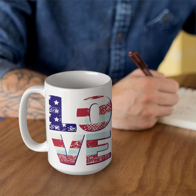 Patriotic Love • 15oz. Large Ceramic Mug Drinkware teelaunch