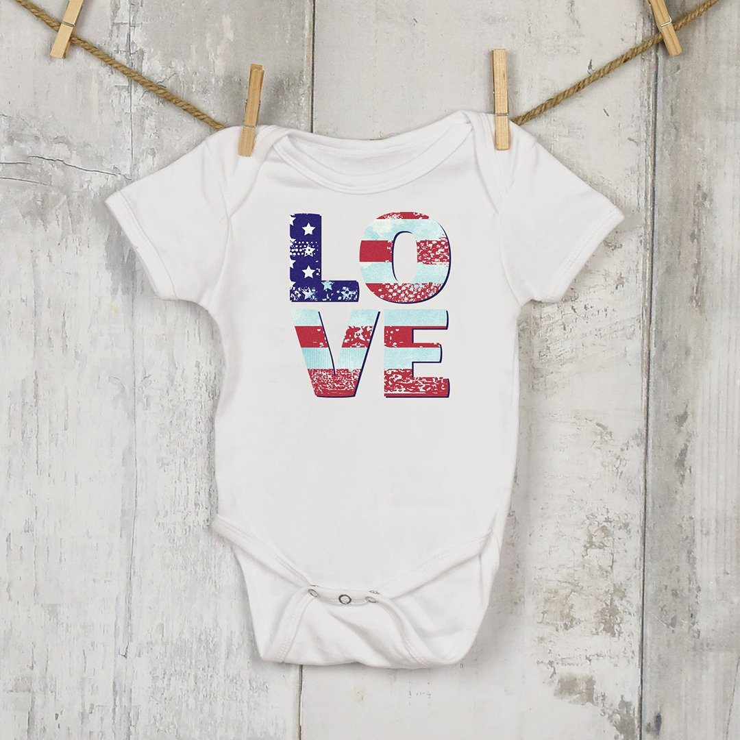 Patriotic Love • Infant Onsie T-shirt teelaunch White NB