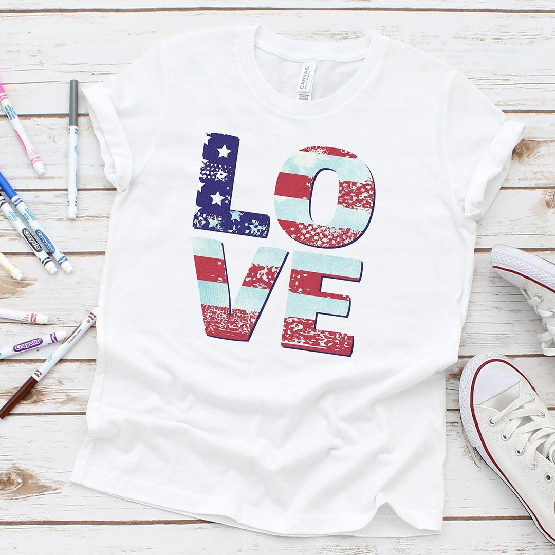 Patriotic Love, Youth T-shirts, american pride, american flag, love, peace, 4th of july