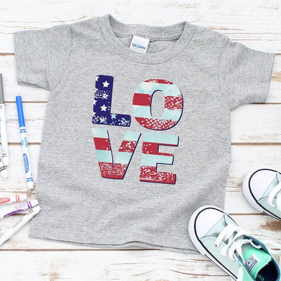 Patriotic Love • Toddler Tees T-shirt teelaunch Heather Grey 6M