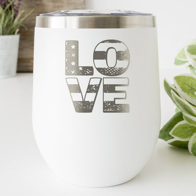 Patriotic Love • Engraved 12oz. Wine Tumbler