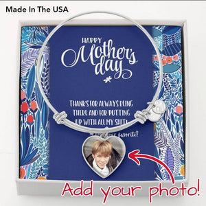 Mother's Day Photo Charm Bangle Bracelet • Message from Child Jewelry ShineOn Fulfillment .316 Surgical Steel Heart Pendant Bangle No