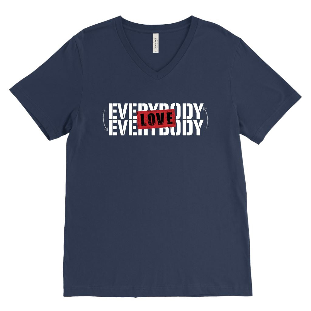 Everybody Love Everybody • Unisex Tees & Tanks T-shirt teelaunch Canvas Mens V-Neck Navy S