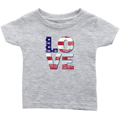 Patriotic Love • Toddler Tees T-shirt teelaunch Heather Grey 12M