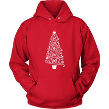 Butterfly Hoodie Cottagecore Folk Art Christmas Tree with Butterflies T-shirt teelaunch Unisex Hoodie Red S