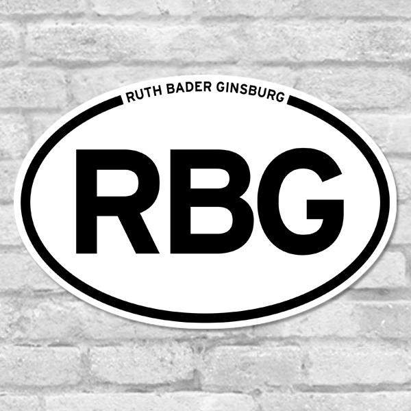 Ruth Bader Ginsburg Oval Bumper Sticker Salmon Olive