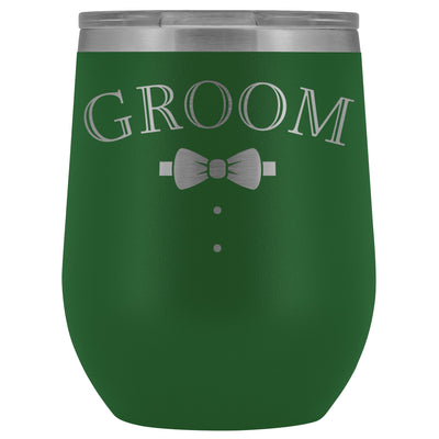 For The Groom • Engraved 12oz. Wine Tumbler Wine Tumbler teelaunch Green