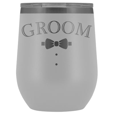 For The Groom • Engraved 12oz. Wine Tumbler Wine Tumbler teelaunch White