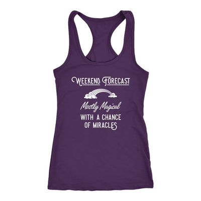 Weeekend Forecast: Mostly Magical with a Chance of Miracles • Women's Racer Back Tank Top T-shirt teelaunch Purple XS