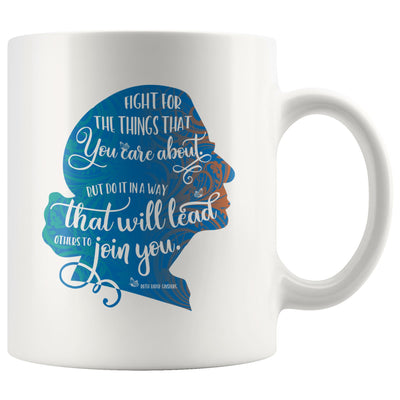 Fight for the Things You Care About Ruth Bader Ginsburg Ceramic Coffee Mug • Blue Silhouette 11oz. or 15oz. Drinkware teelaunch 11oz Mug