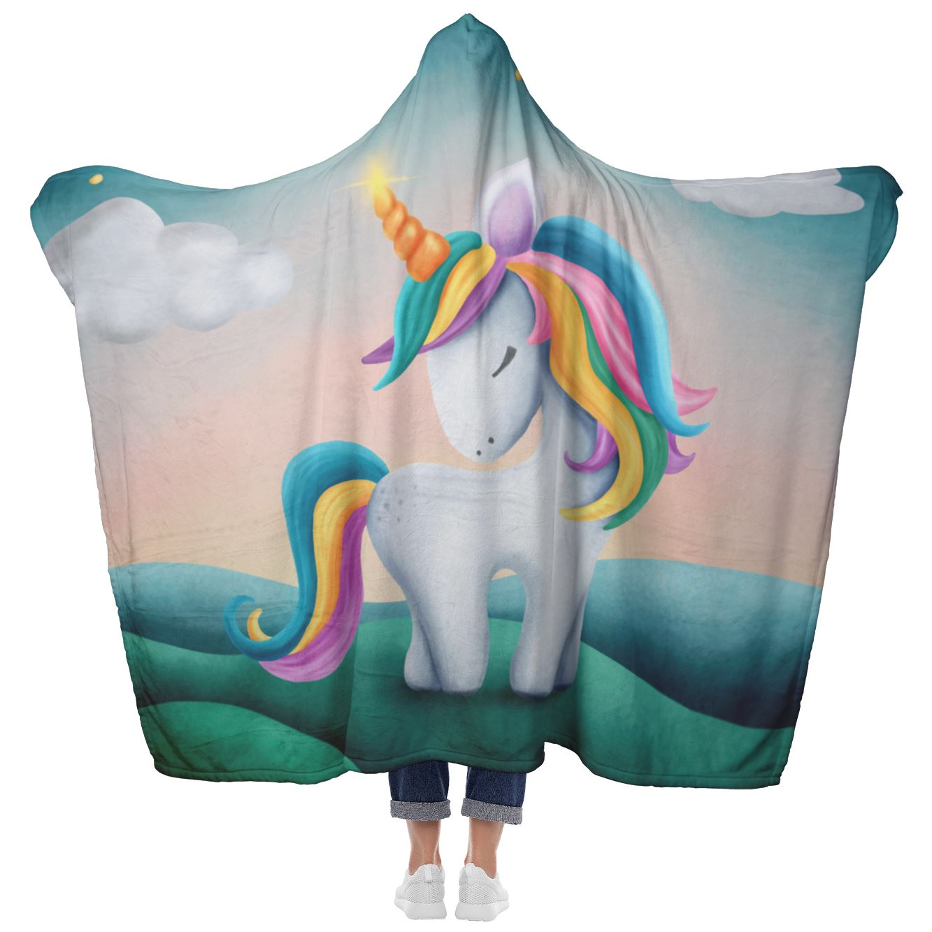 Fleece Unicorn Sherpa Lined Blanket Custom Design with hood and mittens