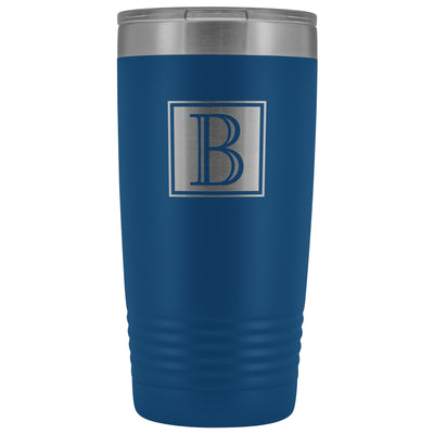 "Monogram ""B"" Insulated Travel Tumbler • Square Design Tumblers teelaunch Blue"