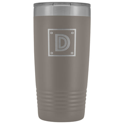 "Monogram ""D"" Insulated Travel Tumbler • Rivet Design Tumblers teelaunch Pewter"