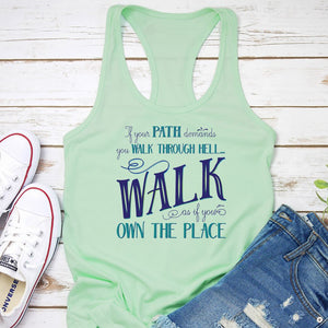 Walk Through Hell Blue Design Women's Tank Top