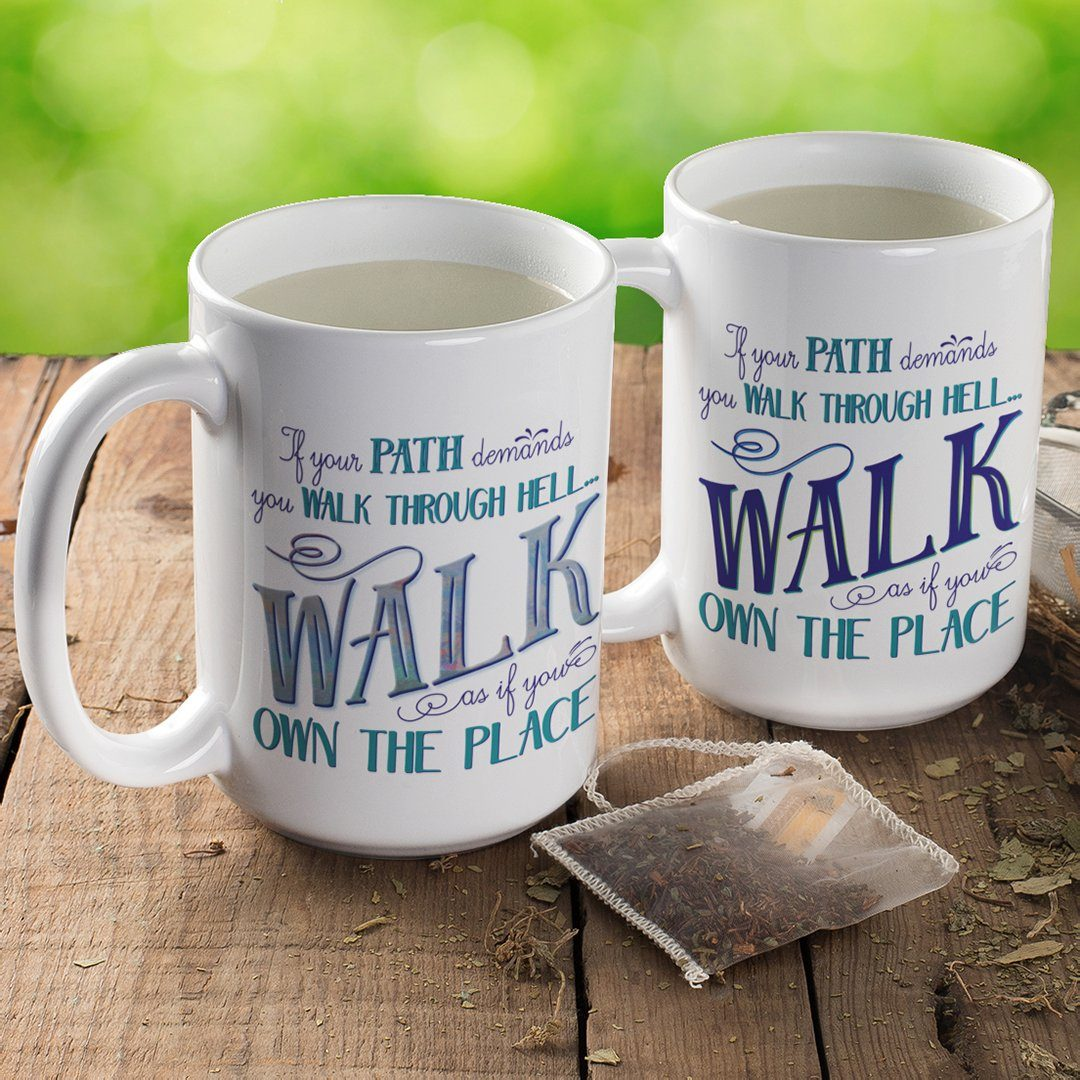 Walk Through Hell • 15oz Large Coffee Mug Drinkware teelaunch Blue