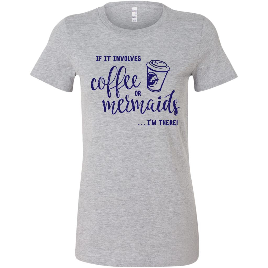 Coffee or Mermaids • Women's Bright Tees & Tank Tops T-shirt teelaunch Cotton Tee Athletic Heather S