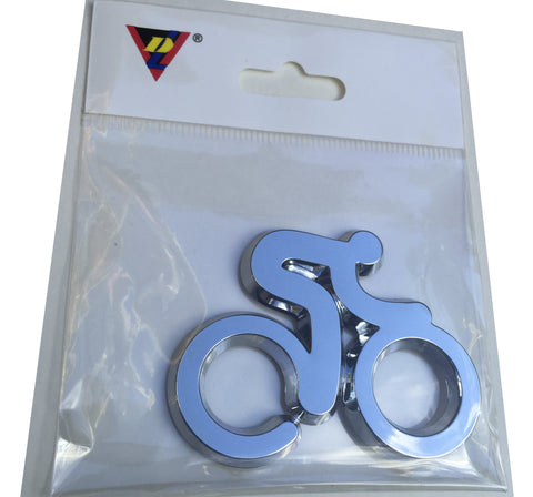Bicyclist Chrome Auto Emblem - ClassyBumper