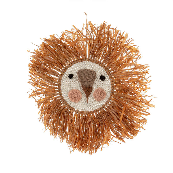 Raffia Lion Wall Art, Terracota