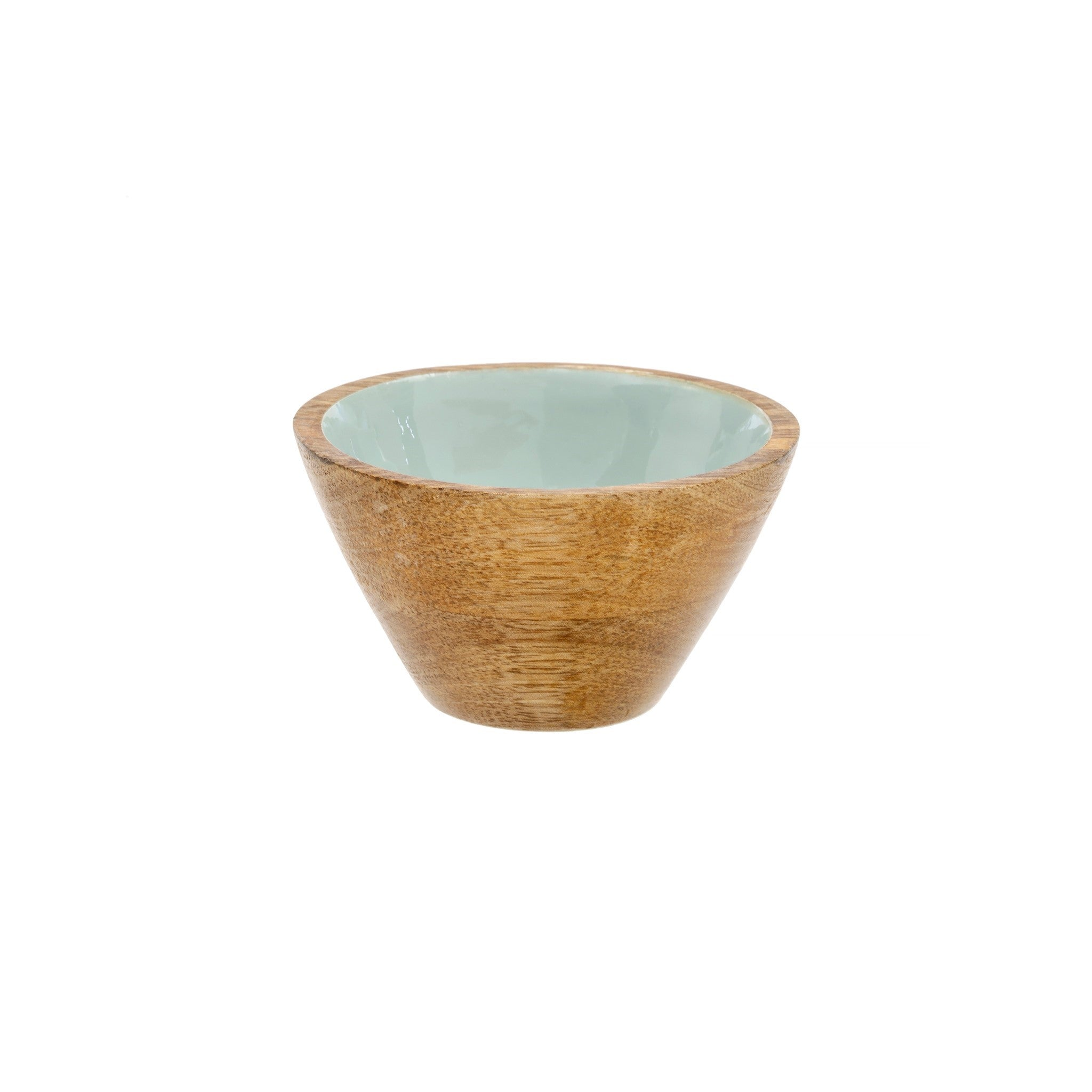 Wood & Enamel Bowl S, Sky Blue