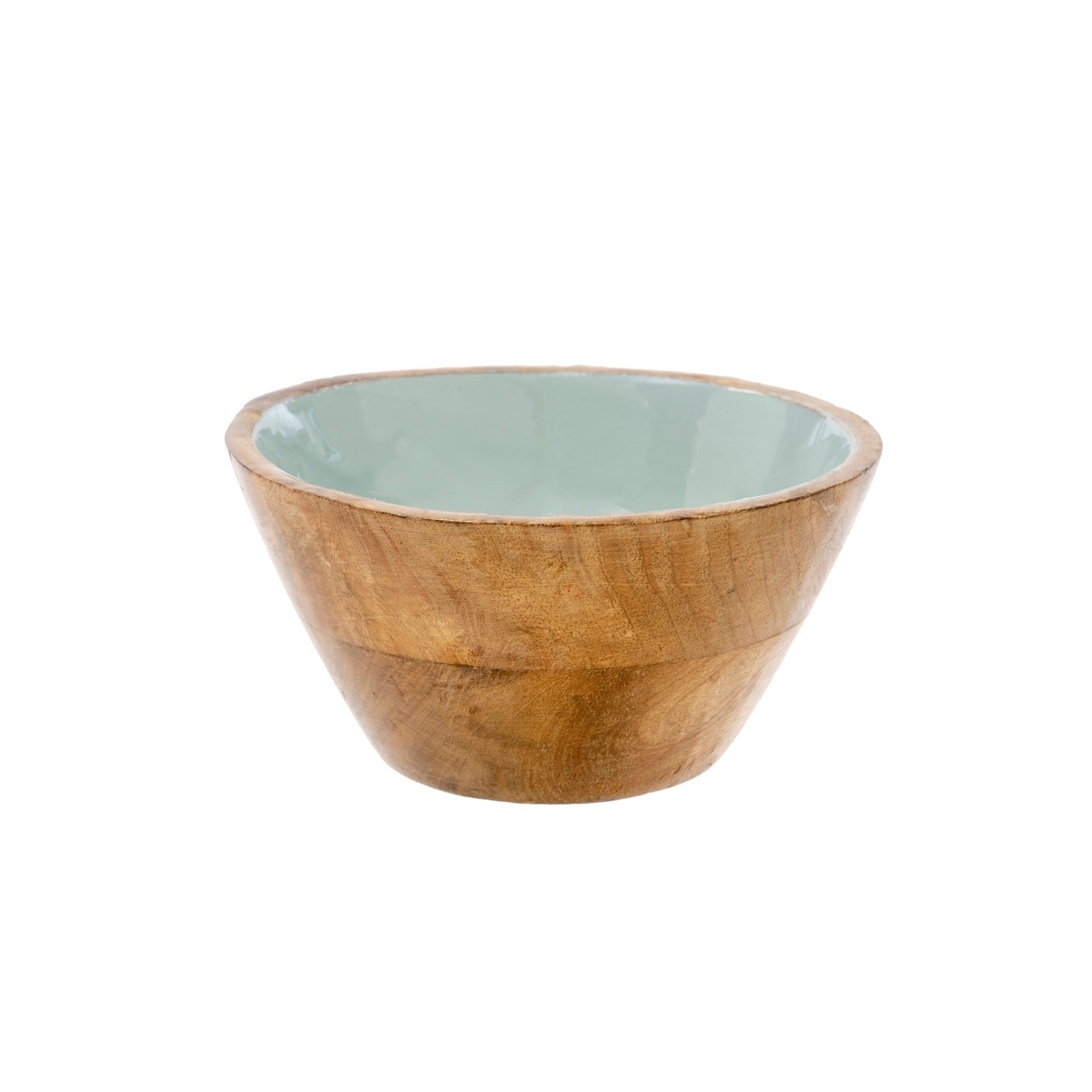 Wood & Enamel Bowl L, Sky Blue