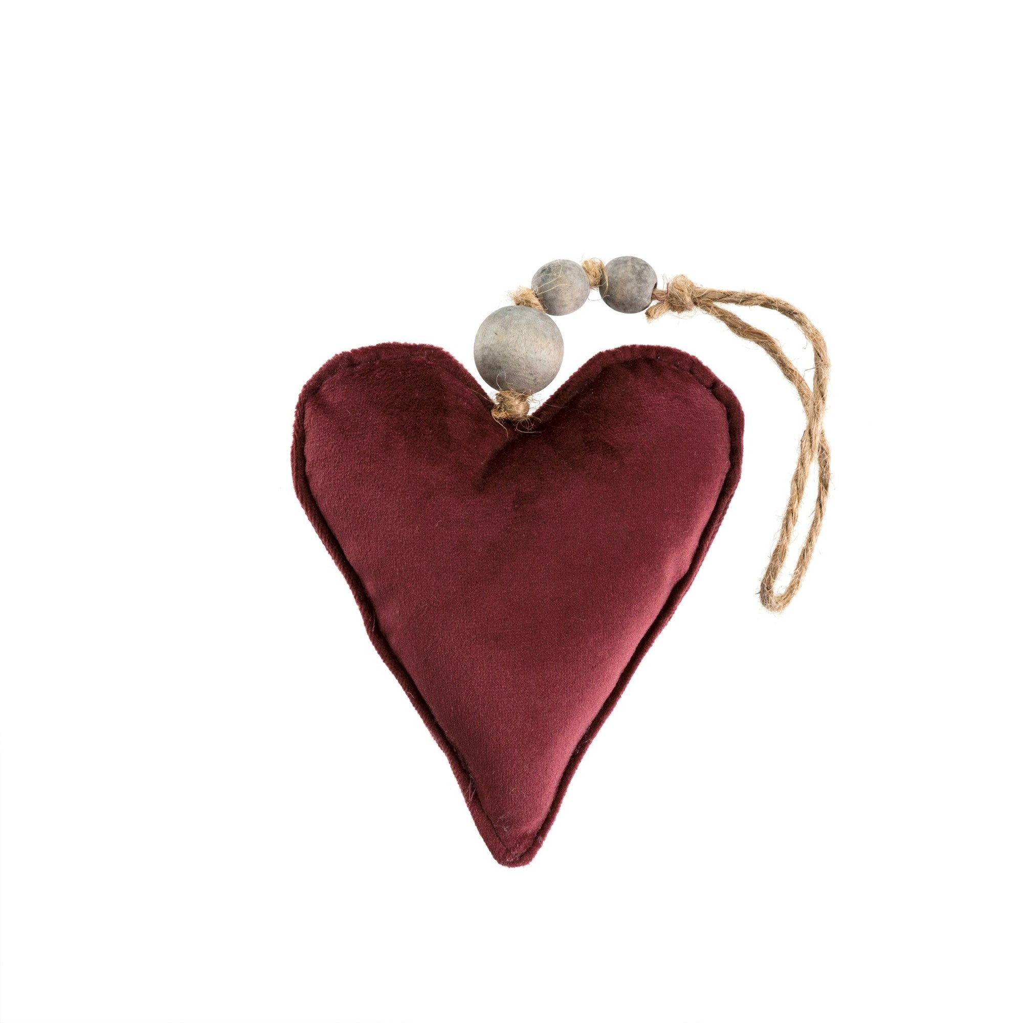 Maroon Velvet Heart Ornament