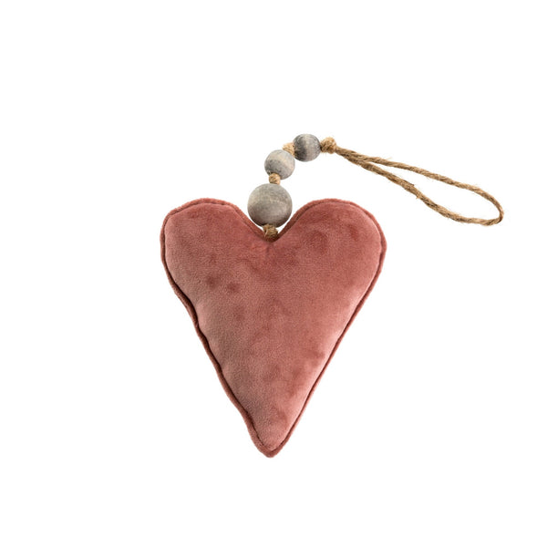 Rose Velvet Heart Ornament
