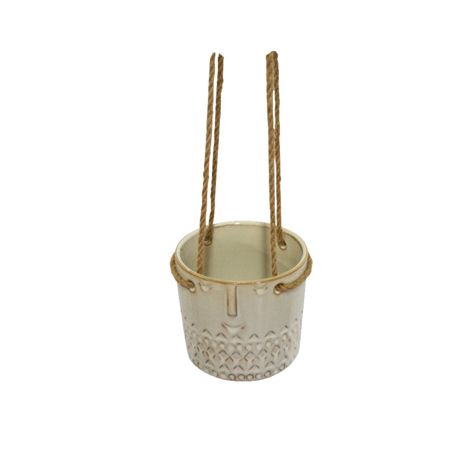 Hidalgo White Ceramic Hanging Flower Pot