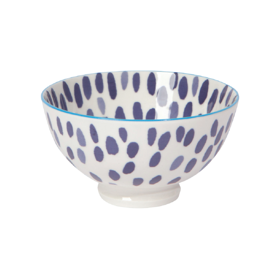 Stamped Bowl Blue Spots 4.5in