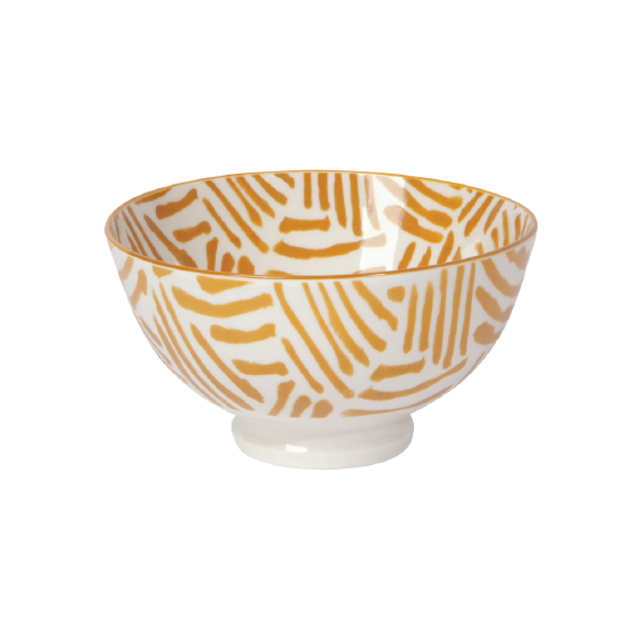 Stamped Bowl Ochre Lines 4.5in