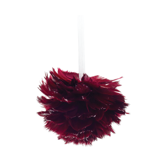 Burgundy Glittered Feather Ornament 5""