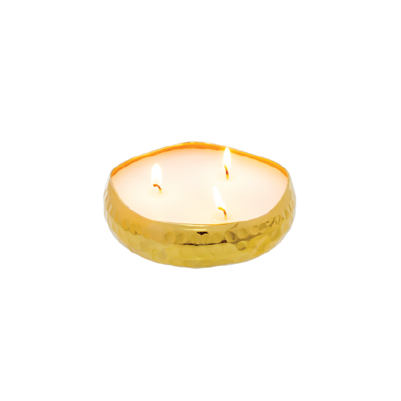 Hammered Multi Flame Candle Gold