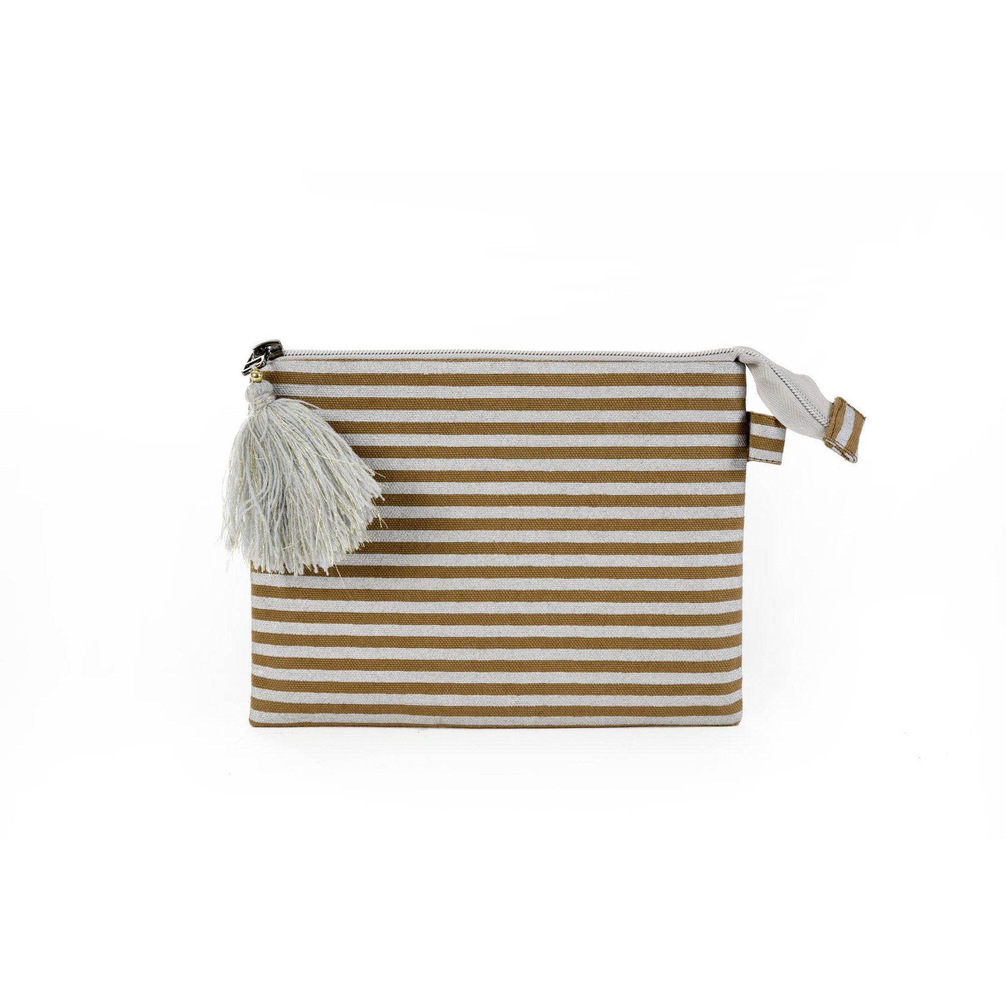 Large Silver Striped Pouch