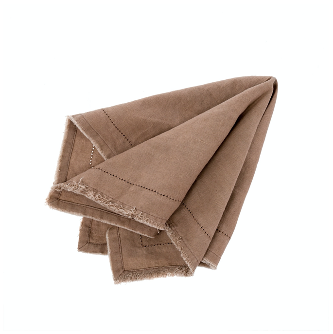 Frayed Edge Napkin Brown, Set of 2