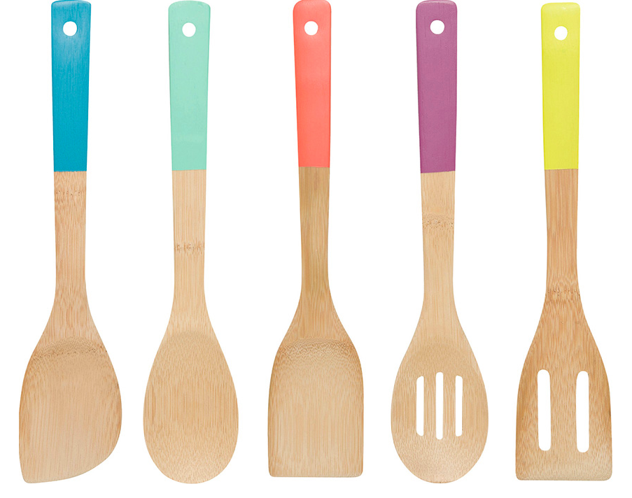 Bamboo Kitchen Utensils Set Multi Coloured