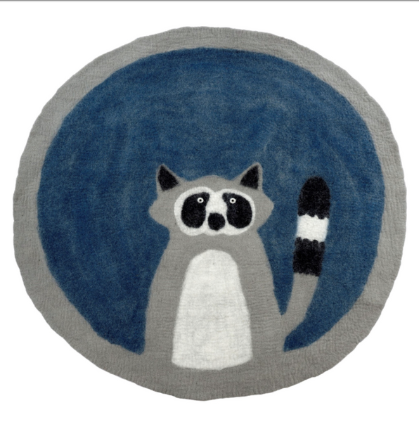 Round Raccoon Felted Mat