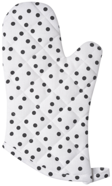 Black + White Polka Dot Oven Mitt