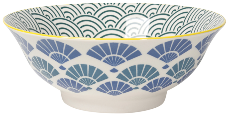 Stamped Blue Fan Bowl