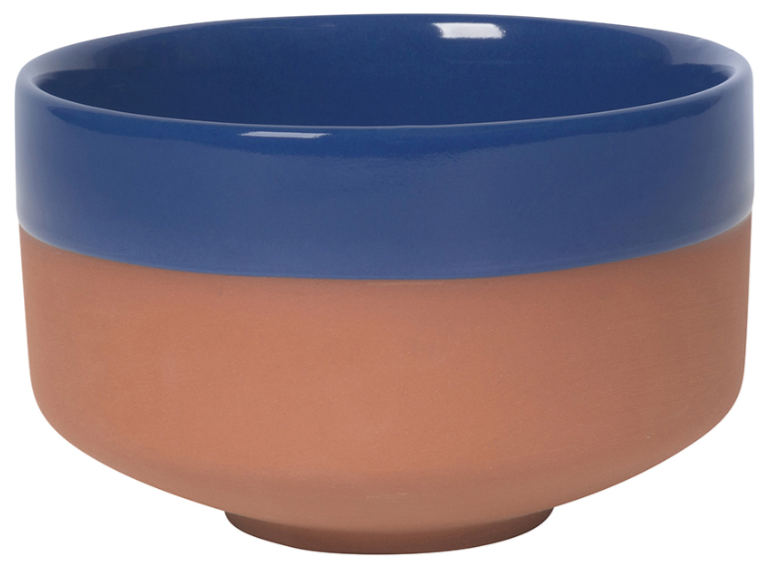 Navy Dipped Terracotta Bowl
