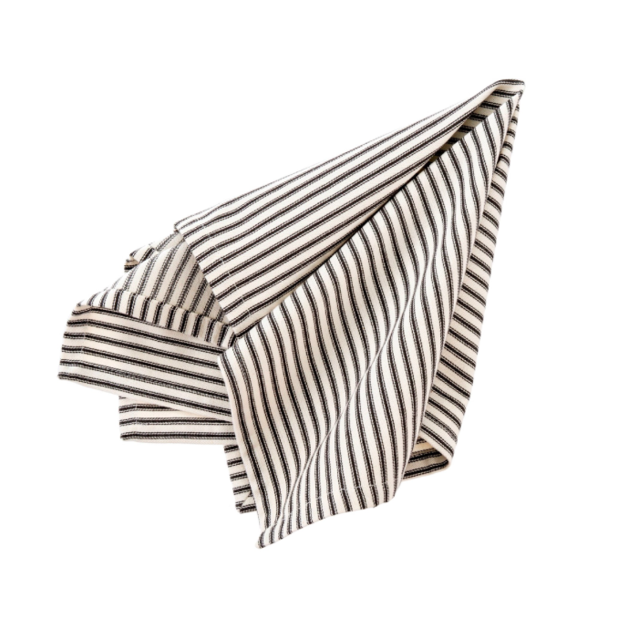 Black Ticking Napkin S/4