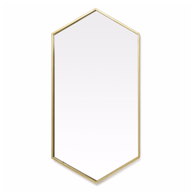 Hexa Mirror Antique Brass