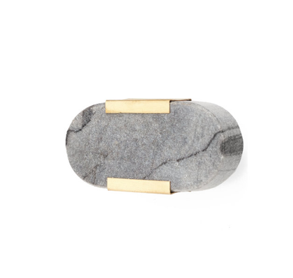 Grey Marble + Brass Oval Knob
