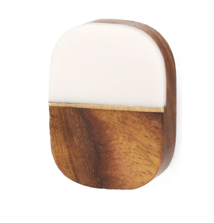 Wood + Cream Resin Oval Knob