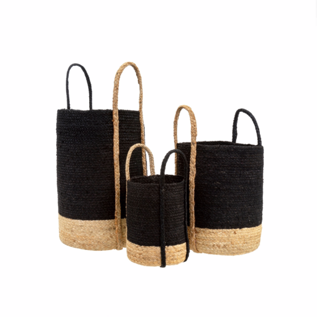 Gibson Jute Baskets, Black
