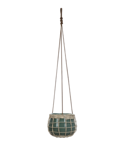 Weaved Stoneware Hanging Planter