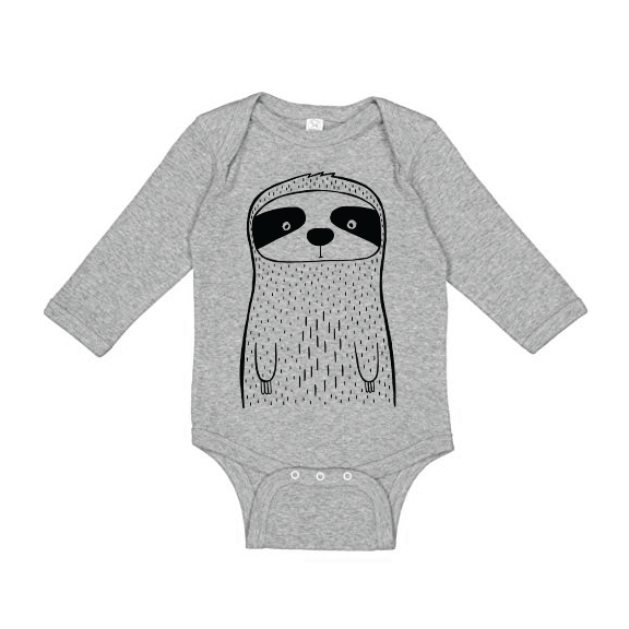 Seymour the Sloth - Long Sleeve Baby Onesie - Grey